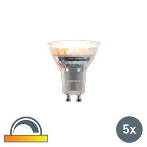 Philips Uppsättning av 5 GU10 dim till varm Philips LED-lampor 3,7 W 260 lm