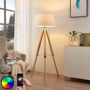 Lindby Lindy Smart LED-gulvlampe Alessa, tripod, app, RGB