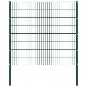 vidaXL Gjerdepanel med stolper jern 1,7x1,6 m grønn