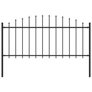 vidaXL Hagegjerde med spydtopp stål (0,5-0,75)x1,7 m svart