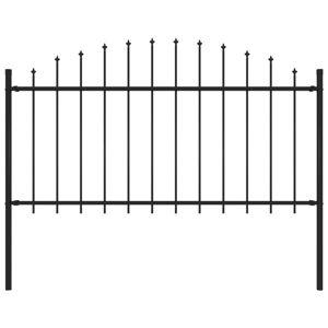 vidaXL Hagegjerde med spydtopp stål (1-1,25)x1,7 m svart