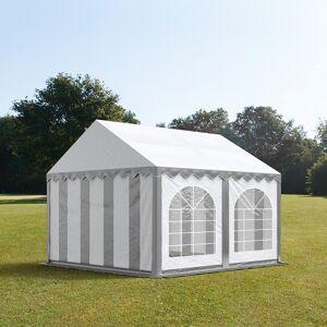 taltpartner.se Partytält 4x4m PVC 500 g/m² grå-vit vattentät