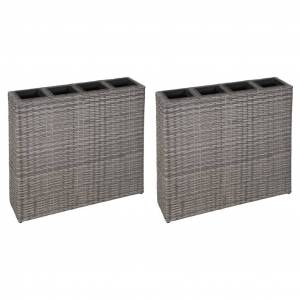 vidaXL Høybed med 4 potter 2 stk polyrotting grå