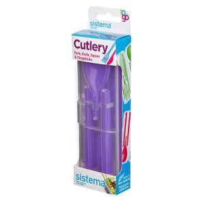 Sistema bestikk å gå, kniv, gaffel, skje & spisepinne sett, lilla