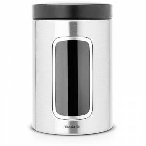 Brabantia förvaringsburk 1.4 l med fönster. stål