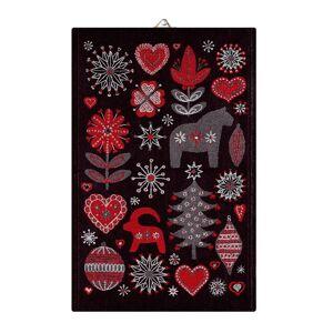 Julnatt keittiöpyyhe musta, 48x70 cm  - Punainen