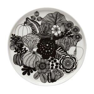 Siirtolapuutarha lautanen Ø 20 cm musta-valkoinen (Suomi 100)  - Musta