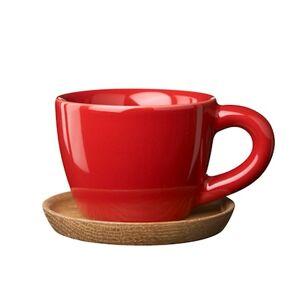 Höganäs Keramik HK Espressokopp 10 cl eplerød blank med trefat Höganäs Keramik