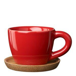 Höganäs Keramik Espressokopp med treskål 10 cl Eplerød