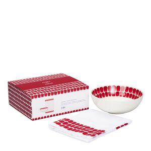 Arabia Gavepakke 24h Tuokio Dyp tallerken og Kjøkkenhåndkle Rød