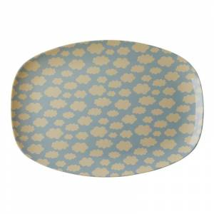 Rice Melamin Rectangular Plate with Cloud Print One Size