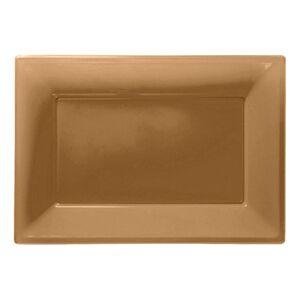 Amscan Serveringsfat i Plast Rektangel Guld - 3-pack