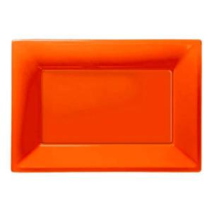 Amscan Serveringsfat i Plast Rektangel Orange - 3-pack