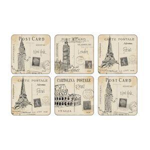 Pimpernel Postcard Sketches Glasunderlägg, 6-Pack