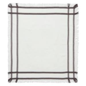 Lexington Fringe Servett 50x50 cm, Vit/Grå