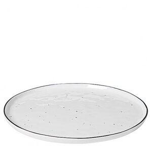 Broste Copenhagen Tallrik Salt med prickar Ø28 cm, Vit m svart rand
