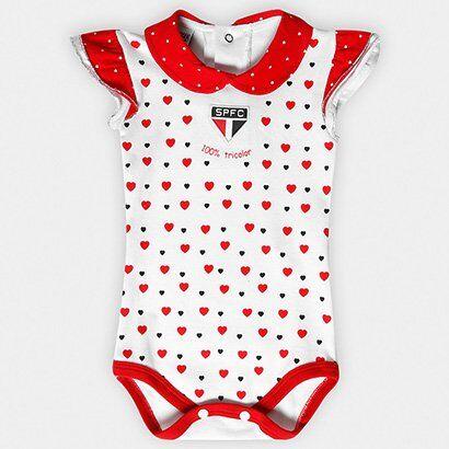 Body São Paulo Infantil Cotton Coração Bebê - Feminino