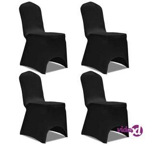 vidaXL Venyvät tuolinsuojat 4 kpl Musta