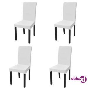 vidaXL Suora Venyvä tuolinsuoja 4 kpl Valkoinen