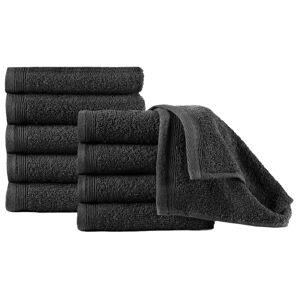 vidaXL Gjestehåndklær 10 stk bomull 450 g/m² 30x50 cm svart