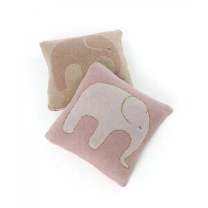Smallstuff, Cushion 35x35, knitted elephant rose/gold