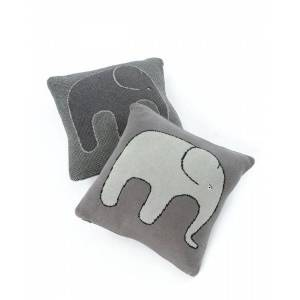 Smallstuff, Cushion 35x35, knitted elephant soft grey