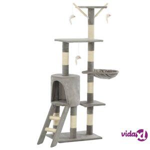 vidaXL Kissan raapimispuu sisal-pylväillä 138 cm harmaa