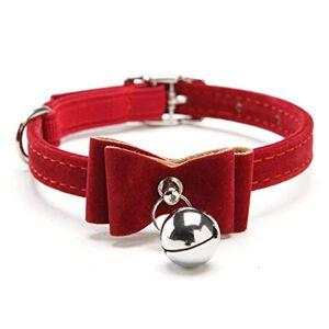 Yisatann Hundkrage krage baby hund säkerhet elastiskt bälte justerbart med bjällerklocka -röd S