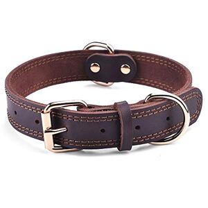 SLZZ Premium äkta läder hundkrag/mjuk känsla slitstark äkta läder/justerbar perfekt för manliga kvinnor medelstora hundar (ingen anpassning, Amazon-frakt)