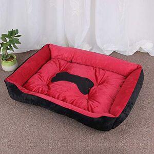 QNMD Kennel sällskapsdjursäng halkfri säng för husdjur för små medelstora stora hundar vinter varm valp stor hund hem kudde bulldogg soffa matta XL – kostym under 45 kg röd