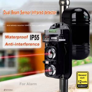 Beam Waterproof Dual Beam Sensor Active Infrared Intrusion Detector IR 20m~150m Outdoor Perimeter Wall Barrier Fence for GSM alarm