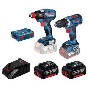 Bosch Sett GDX 18 V-EC + GSR 18V-60 C 2x4,0Ah og lader