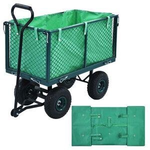 vidaXL Innerfoder till trädgårdsvagn grön tyg