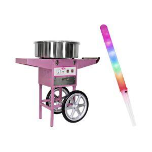Royal Catering Candyfloss-maskine - sæt inkl. 100 stk. candyfloss-pinde LED - 52 cm - 1.200 W