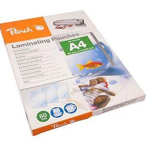Peach laminat ark A4 80 mikron skinnende 100 PC (er)