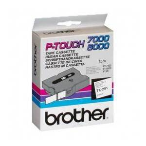 Brother TX251 Sort tekst / Hvid tape 24 mm x 15 m tape - Original