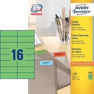 Avery 3454 Etiketter   105x37mm   Grøn   1600 Stk.