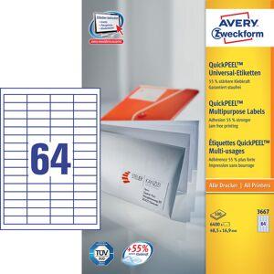 Avery 3667 Etiketter   48,5x16,9 Mm   6400 Stk.