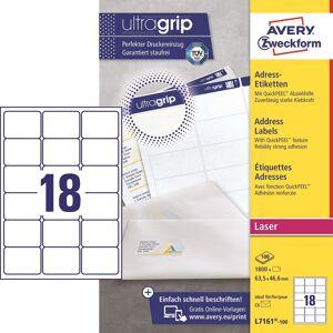 Avery L7161 Etiketter   63,5x46,6 Mm   1800 Stk.