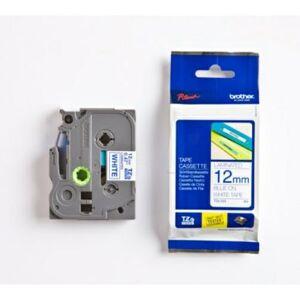 Brother 12 mm tape, blå tekst på hvid bund, lamineret, 8 m TZE233 Replace: N/A