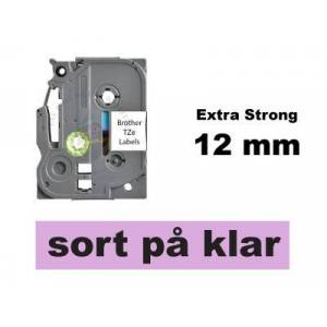 Brother Kompatibel Tze-S131 12mm X 8m Sort På Klar P-Touch Tape