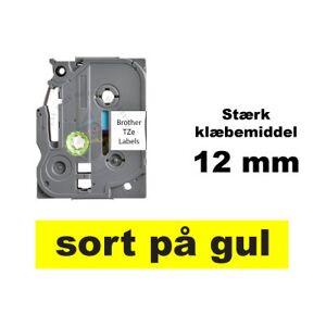 Brother Tze-S631 12mm X 8m Sort På Gul P-Touch Tape (Kompatibel)