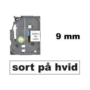 Brother Kompatibel Tze-221 9mm X 8m Sort På Hvid P-Touch Lamineret Tape