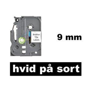 Brother Kompatibel Tze-325 9mm X 8m Hvid På Sort P-Touch Lamineret Tape