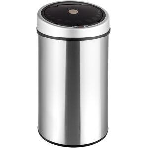 tectake Skraldespand med bevægelsessensor - sølv, 50 L