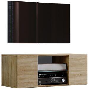 Jusa 95 TV-Møbel væghængt med 2 låger og 1 glashylde, Sonoma eg dekor.