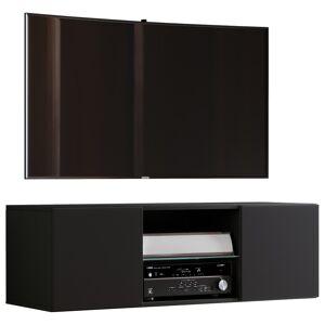 Jusa 115 TV-Møbel væghængt med 2 låger og 1 glashylde, sort.