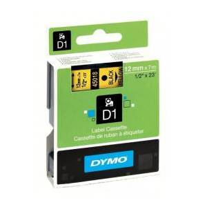 Dymo D1 45018 / S0720580 Sort tekst / Gul tape 12 mm x 7 m tape - Original