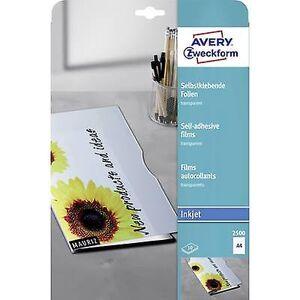 Avery Zweckform Avery-Zweckform 2500 selvklebende film a4 Inkjet-skriver gjennomsiktig 10 PC (er)