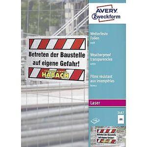 Avery Zweckform Avery-Zweckform 3487 Vær-Proof film a4 laserskriver, laser, farge, kopimaskin, fargekopimaskin hvit 100 PC (er)